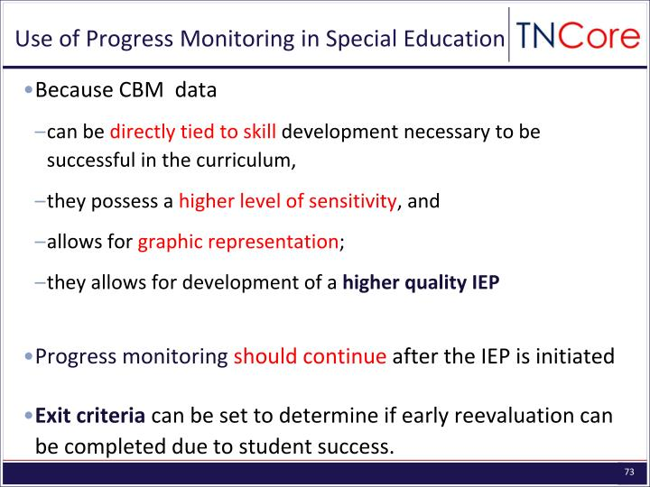 Use of Progress Monitoring in Special Education