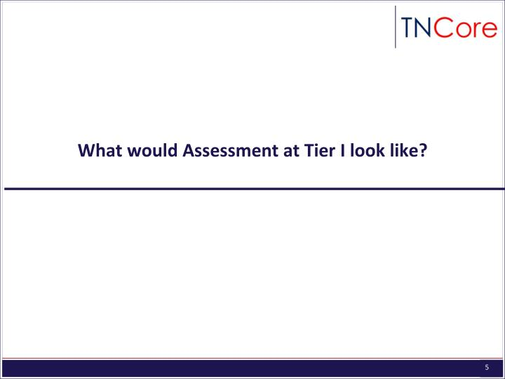 What would Assessment at Tier I look like?