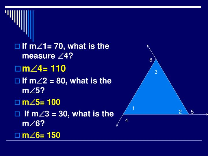 If m1= 70, what is the measure 4?