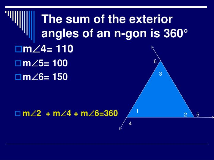 The sum of the exterior angles of an n-gon is 360°