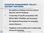 disaster management policy salient features
