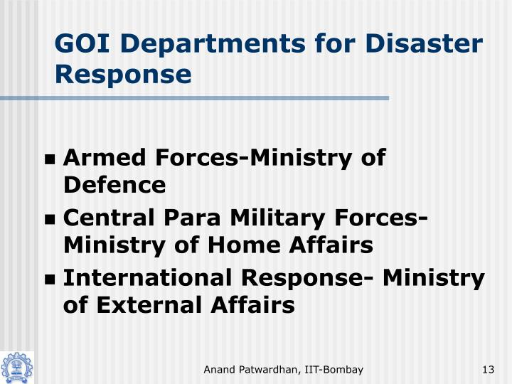 GOI Departments for Disaster Response