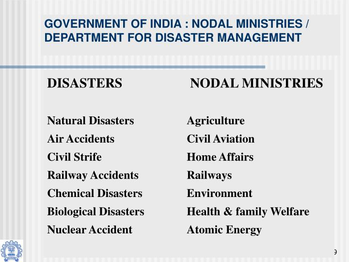 GOVERNMENT OF INDIA : NODAL MINISTRIES / DEPARTMENT FOR DISASTER MANAGEMENT