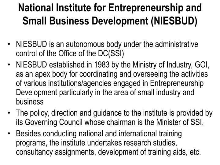 National Institute for Entrepreneurship and Small Business Development (NIESBUD)