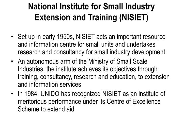 National Institute for Small Industry Extension and Training (NISIET)