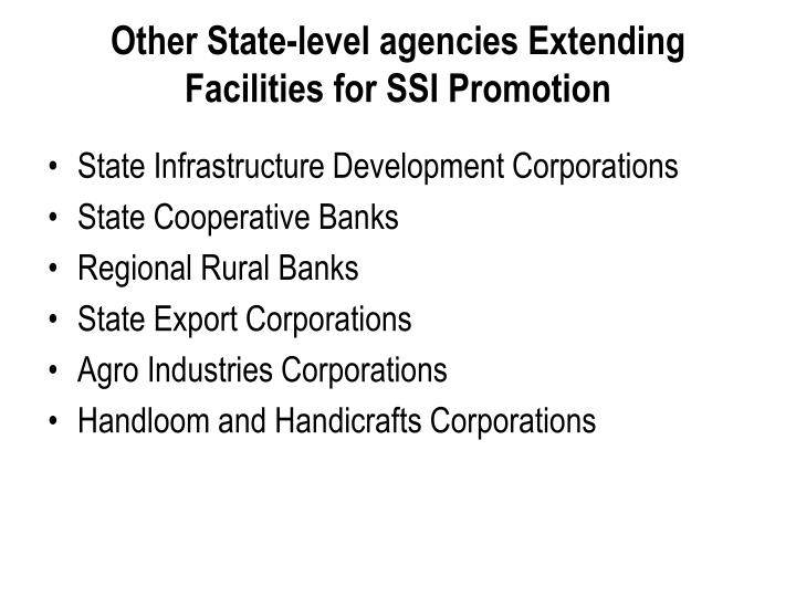 Other State-level agencies Extending Facilities for SSI Promotion