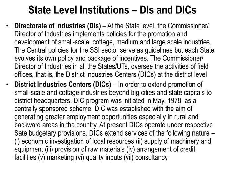 State Level Institutions – DIs and DICs