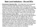 state level institutions dis and dics