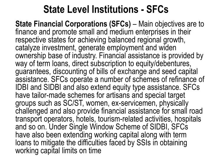 State Level Institutions - SFCs
