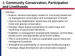 3 community conservation participation and livelihoods