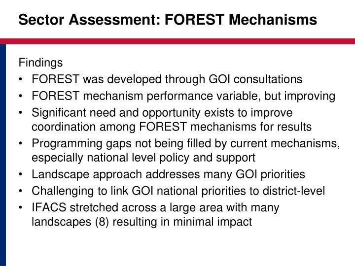 Sector Assessment: FOREST Mechanisms