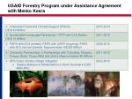 usaid forestry program under assistance agreement with menko kesra