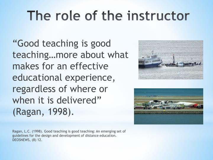 """Good teaching is good teaching…more about what makes for an effective educational experience, regardless of where or when it is delivered"" (Ragan, 1998)."