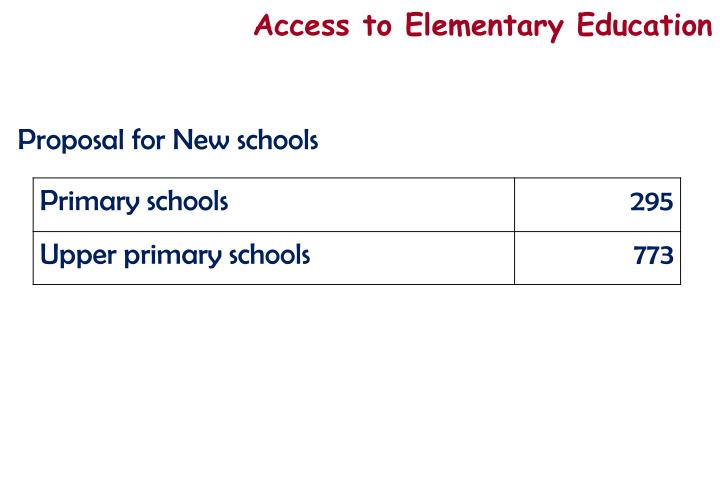 Access to Elementary Education
