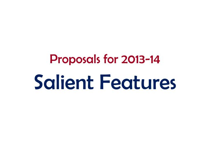 Proposals for 2013-14