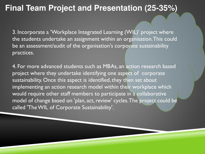 Final Team Project and Presentation (25-35%)
