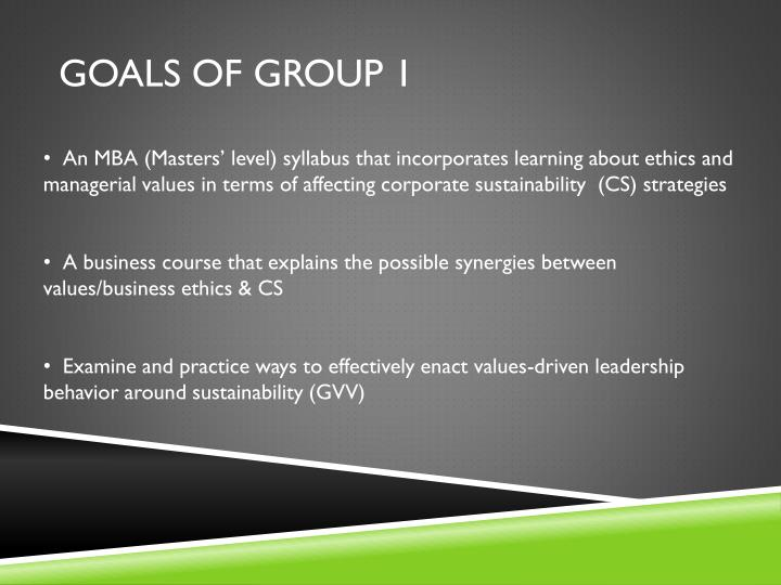 Goals of Group 1