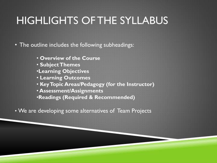 Highlights of the syllabus