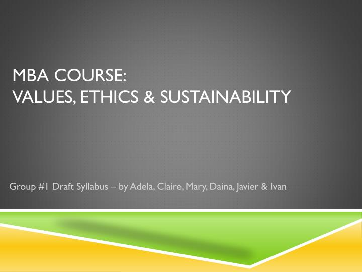MBA course: