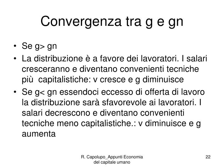 Convergenza tra g e gn