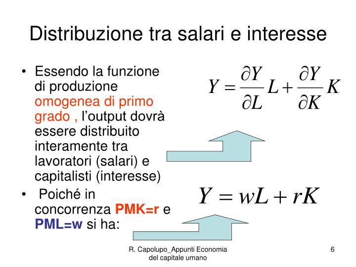 Distribuzione tra salari e interesse