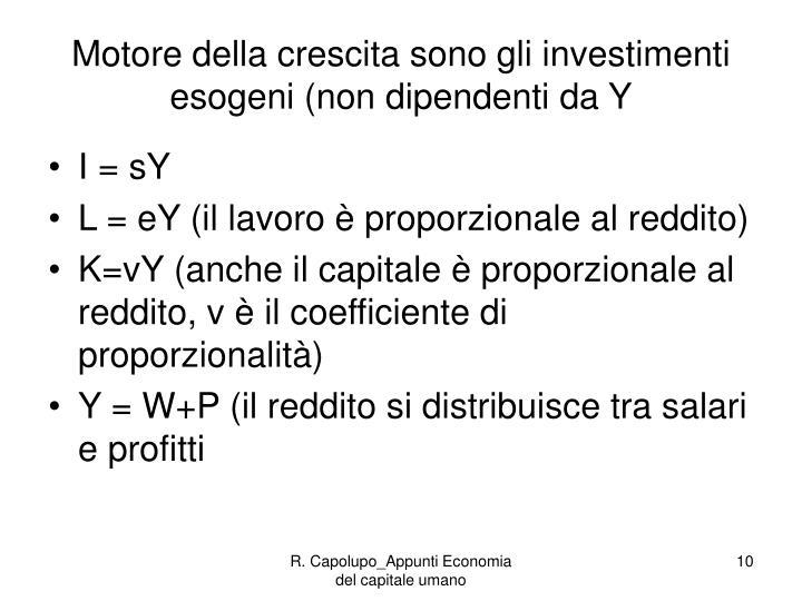 Motore della crescita sono gli investimenti esogeni (non dipendenti da Y