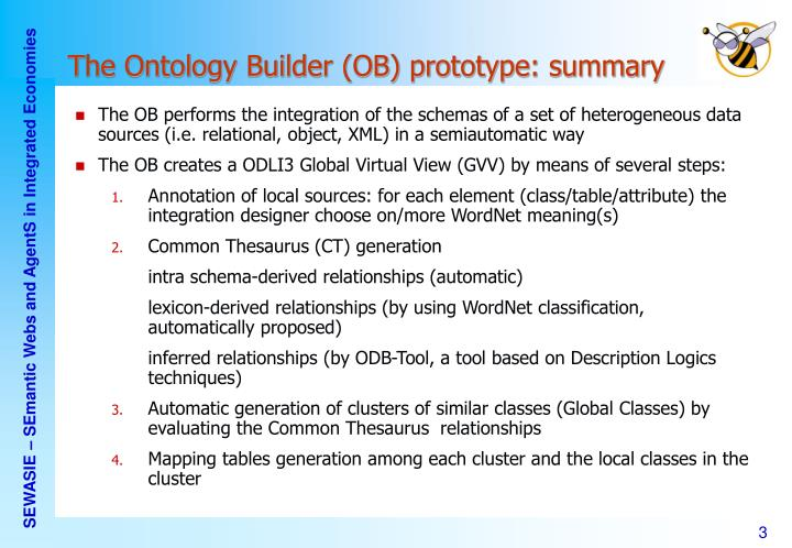 The Ontology Builder (OB) prototype: summary