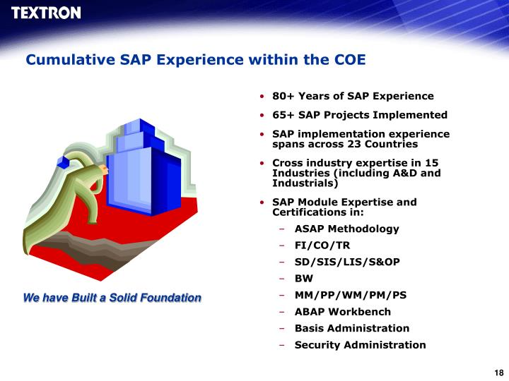 Cumulative SAP Experience within the COE