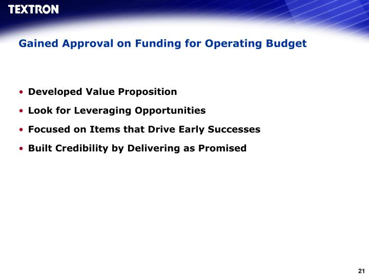 Gained Approval on Funding for Operating Budget