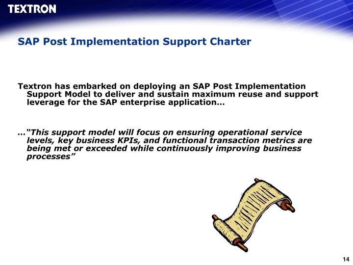 SAP Post Implementation Support Charter