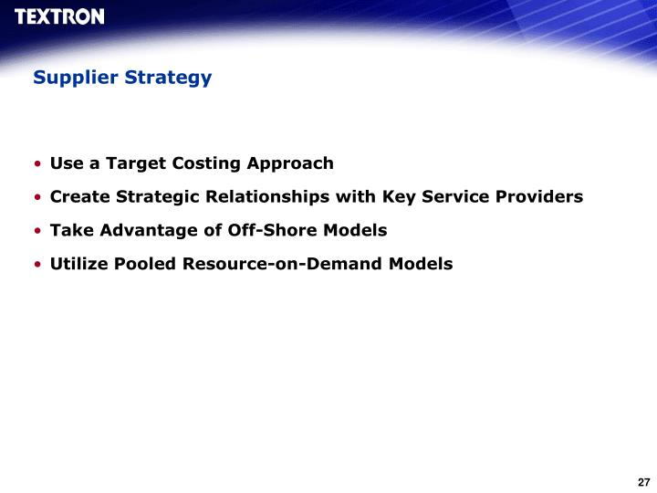 Supplier Strategy