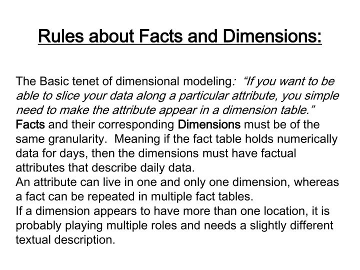 Rules about Facts and Dimensions: