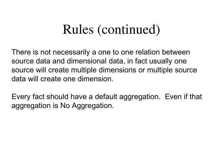 Rules (continued)