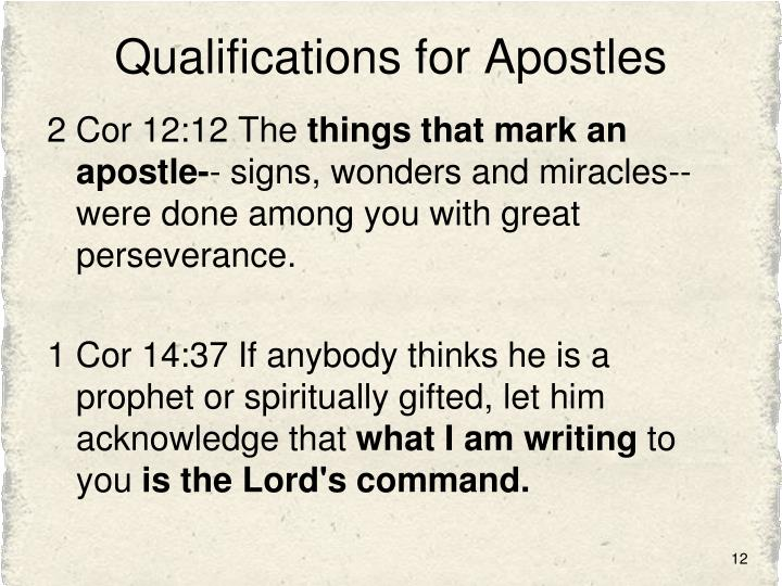 Qualifications for Apostles