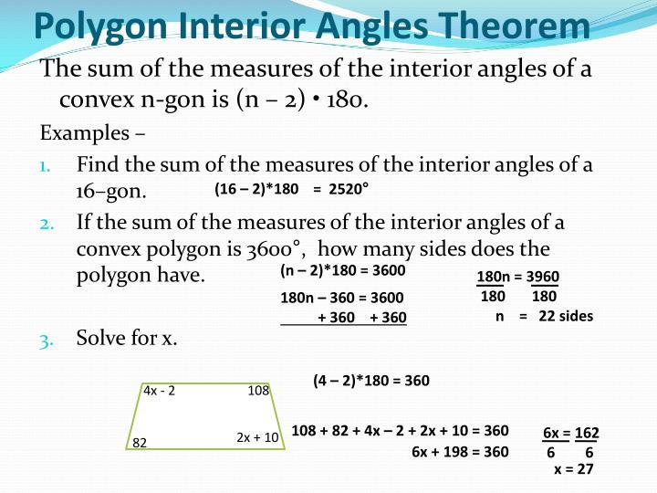 Polygon Interior Angles Theorem