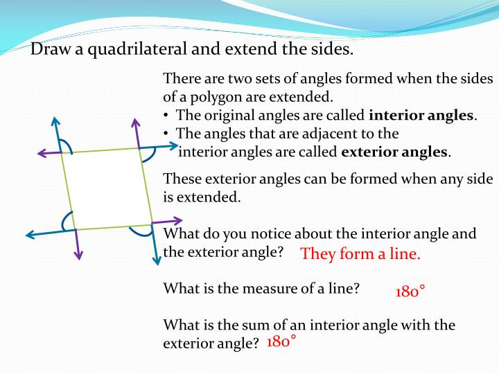 There are two sets of angles formed when the sides of a polygon are extended.