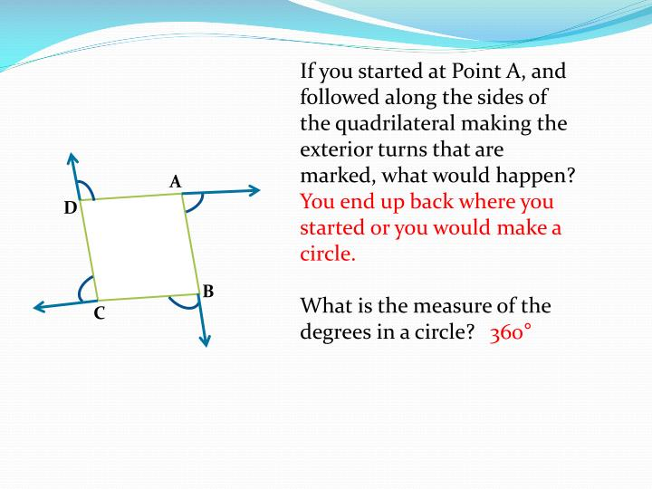 If you started at Point A, and followed along the sides of the quadrilateral making the exterior turns that are marked, what would happen?