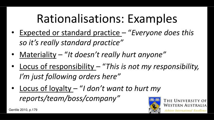 Rationalisations: Examples