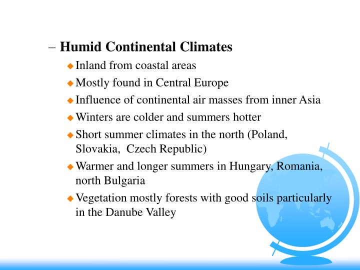 Humid Continental Climates