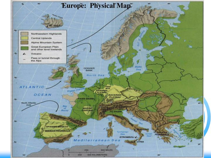 Europe:  Physical Map