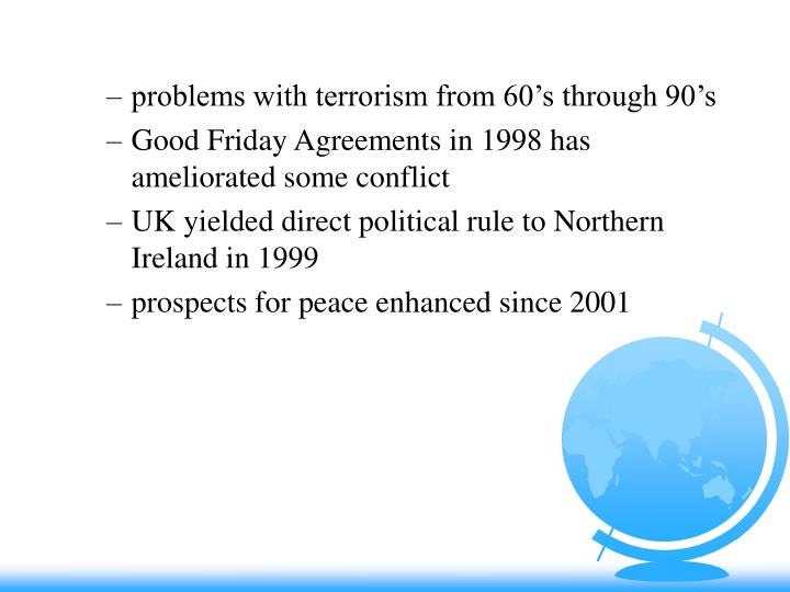 problems with terrorism from 60's through 90's