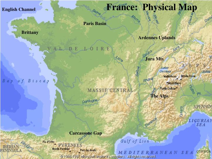 France:  Physical Map