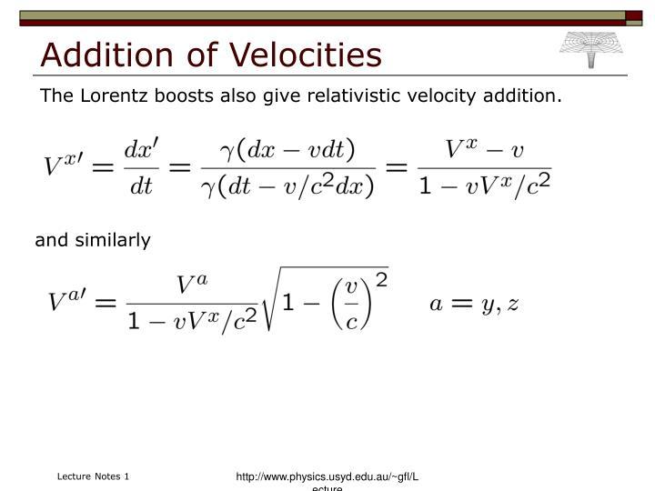 Addition of Velocities