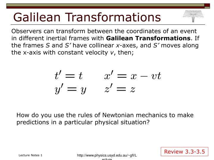Galilean Transformations