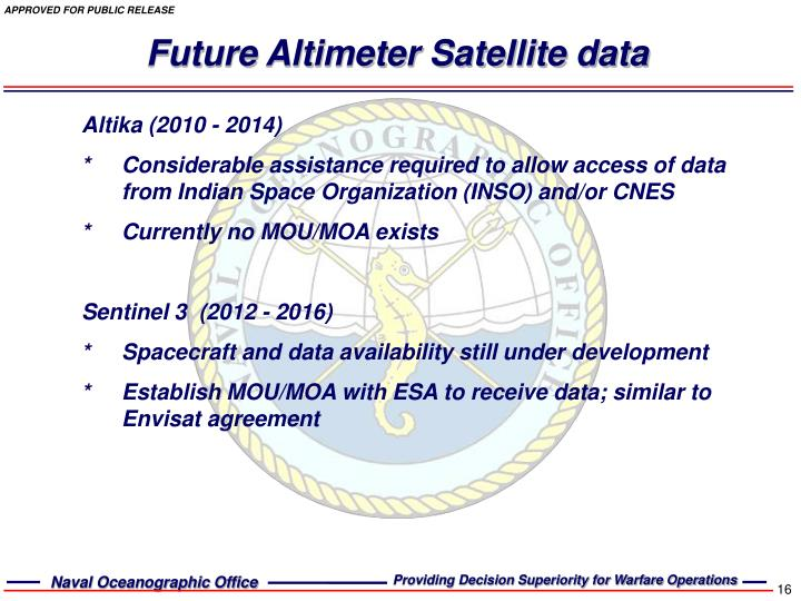 Future Altimeter Satellite data
