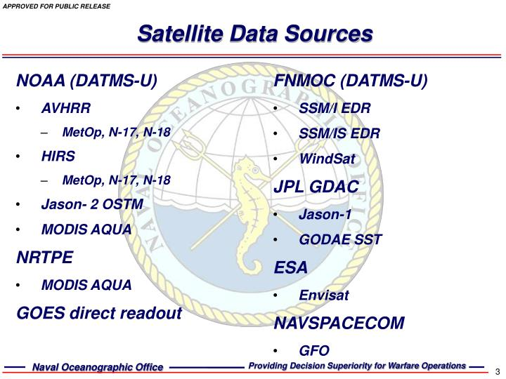 Satellite data sources