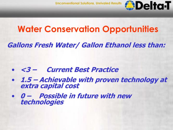 Water Conservation Opportunities
