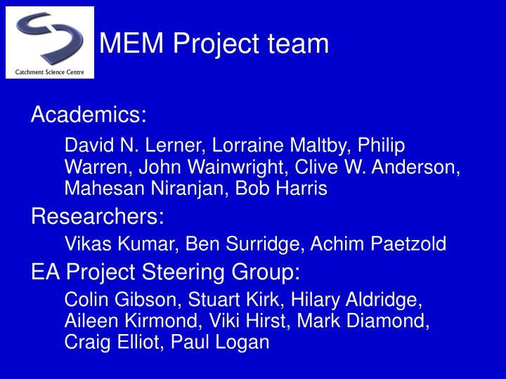MEM Project team