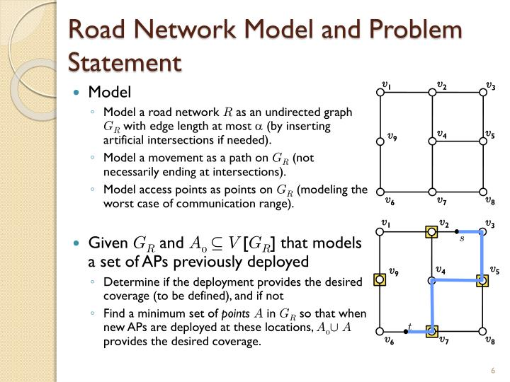 Road Network Model and Problem Statement