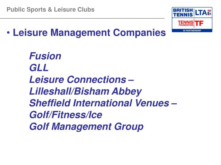 Public Sports & Leisure Clubs